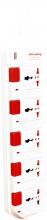 Ổ cắm Điện Quang ĐQ ESK 2W.SM750SL (5 lỗ 3 chấu dây 2 mét màu Trắng Đỏ)