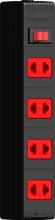 Ổ cắm Điện Quang ECO ĐQ ESK 5BR 42 ECO (4 lỗ 2 chấu , dây dài 5m màu đen đỏ)