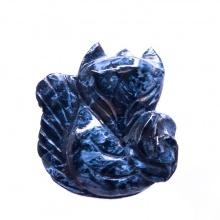 Mặt dây chuyền hồ ly giông tố xanh đen ôm mẫu đơn - PDFPIEP01 - VietGemstones