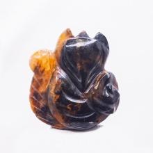 Mặt dây chuyền hồ ly giông tố vàng đen ôm mẫu đơn - PDFPIEP03 - VietGemstones