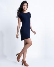 Đầm suông xẻ vai DRE028 (xanh navy)