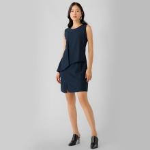 Đầm suông công sở phối tà Eden D317 (xanh đen)