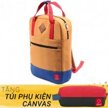Balo canvas thời trang Glado GDP001 - Daypack Beige (màu vàng) - Tặng túi phụ kiện canvas