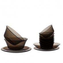 Bộ bàn ăn 12 món thủy tinh chịu lực Duralex lys nâu khói