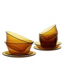 Bộ bàn ăn 12 món thủy tinh chịu lực Duralex lys hổ phách