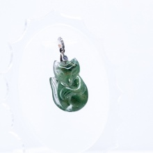 Mặt dây chuyền hồ ly thạch anh ưu linh xanh PDFGGQ01 - Vietgemstones
