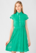 Đầm nữ ren dáng xòe tay ngắn Kassun xanh lá đậm - 232159890