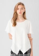 Áo kiểu nữ cánh dơi cổ tròn tà chéo Kassun trắng