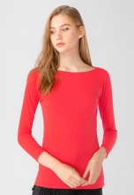 Áo thun nữ cổ tròn tay dài Kassun đỏ