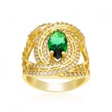 Nhẫn nữ cc đính đá xanh lá