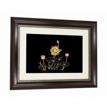 Quà tặng sinh nhật mẹ - Tranh hoa sen mạ vàng 24K treo tường - THSMV03