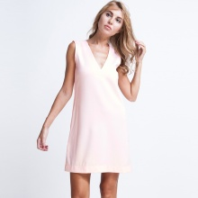 Đầm suông form rộng DRE016 (hồng champagne)