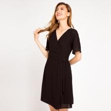 Đầm đắp vạt wrap iconic Hity DRE040 (đen huyền bí)