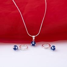 Opal - Bộ trang sức bạc đính đá xanh sapphire quyến rũ_T10