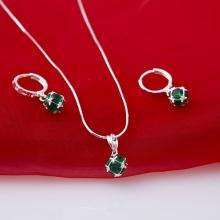 Opal - Mặt kèm dây chuyền bạc và hoa tai đính đá ross xanh lá tinh xảo_T10