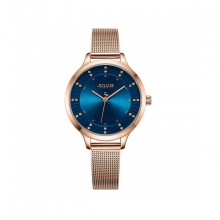 Đồng hồ nữ Julius Hàn Quốc dây thép JA-1058C đồng mặt xanh