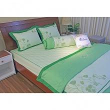 Bộ chăn drap gối cao cấp bọc màu thêu Thắng Lợi 180x200cm - SE (xanh lá)