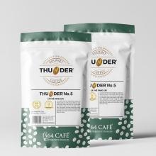 Combo 02 bao cà phê hạng 1 sàng 18/64 in (tcvn 4193:2014) thunder no.5 (bột) tổng khối lượng tịnh 440g