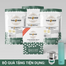 Combo cà phê (bột) thunder no.1, 2, 3, hộp phin giấy thương hiệu 1864 CAFÉ® tổng khối lượng tịnh 720g (có quà tặng)