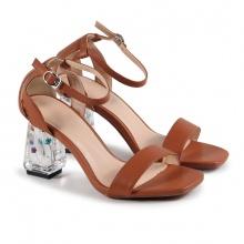 Sandal quai ngang gót bông Glyxia (S07033 -  bò )