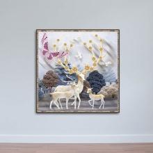 Tranh treo tường hươu nai đẹp - tranh con nai - W558 - Size M