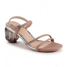 Sandal gót vuông mika quai mảnh (S05018 - Kem)