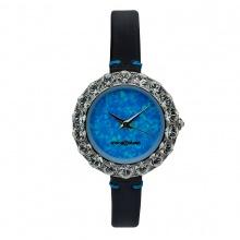 Đồng hồ nữ MS512I Mangosteen Seoul Hàn Quốc dây da (xanh biển)