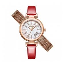 Đồng hồ nữ JS-016 Julius Star Hàn Quốc dây da tặng kèm dây đồng