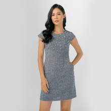 Đầm suông công sở thời trang Eden đính hạt - D308