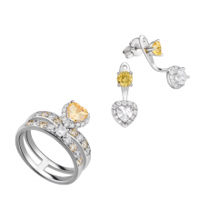 Bộ trang sức bạc PNJSilver Retro Forest đính đá màu vàng