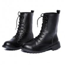 Giày boot nữ cổ cao đế thấp Rozalo RW67517B-Đen