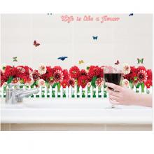 Decal dán tường hàng rào hoa đỏ CT41