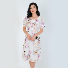 Đầm xòe thời trang Eden cổ vuông in hoa - D320