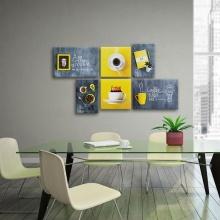Bộ 6 tranh treo quán cà phê ấn tượng W1032 Canvas  size M