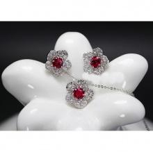 Opal - Dây chuyền bạc kèm mặt bạc và hoa tai bạc đính đá ross đỏ_T11