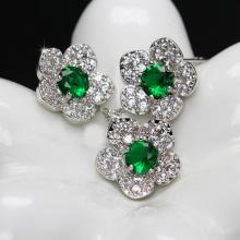 Opal- Dây chuyền bạc kèm mặt bạc và hoa tai bạc đính đá ross xanh lá_T11