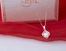 Opal - Dây chuyền bạc kèm mặt bạc đính ngọc trai trắng tự nhiên_T11