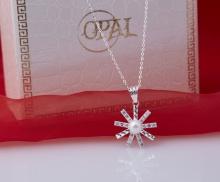 Opal- Dây chuyền bạc kèm mặt bạc xynh đính ngọc trai trắng _T11