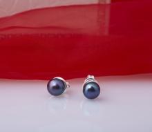Opal - Hoa tai viền bạc đính ngọc trai đen tự nhiên_T11