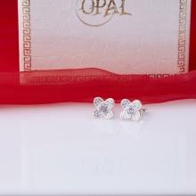 Opal - Hoa tai bốn cánh bạc đính đá ross trắng_T11