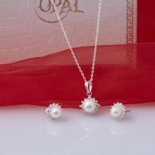 Opal - Bộ dây chuyền bạc kèm mặt và hoa tai đính ngọc trai trắng_T11