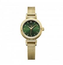 Đồng hồ nữ Julius Hàn Quốc dây thép JA-1030B (vàng mặt xanh)