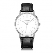 Đồng hồ nam Julius Hàn Quốc dây da JA-1003A (Đen mặt trắng)