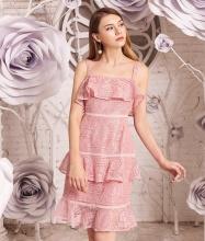 Đầm ren hồng hai tầng-AD170331