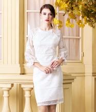 Đầm ren trắng tay dài-AD170347