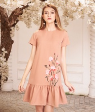 Đầm hạ eo vẽ hoa-AD170334