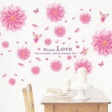 Decal dán tường hoa cúc hồng PK196