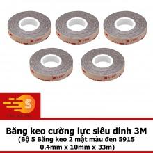 Bộ 5 băng keo cường lực siêu mỏng 3M khổ 10mm x 33m VHB 5915-10