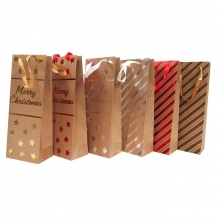 Túi đựng quà bằng giấy Kraft có in hình nổi, nhũ Noel   36x14x8.5cm_XB1022-Giao ngẫu nhiên