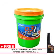 Nhớt động cơ diesel nhập khẩu Thái Lan -  Bcp Diesel Bangchak D3 J Sae 50- Api CD/SF - 18l tặng dung dịch súc béc dầu Bcp Diesel Fuel Conditioner 200ml